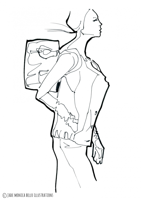 Woman with the Bag, fashion illustration, inspiration, women's wear, look, sketch