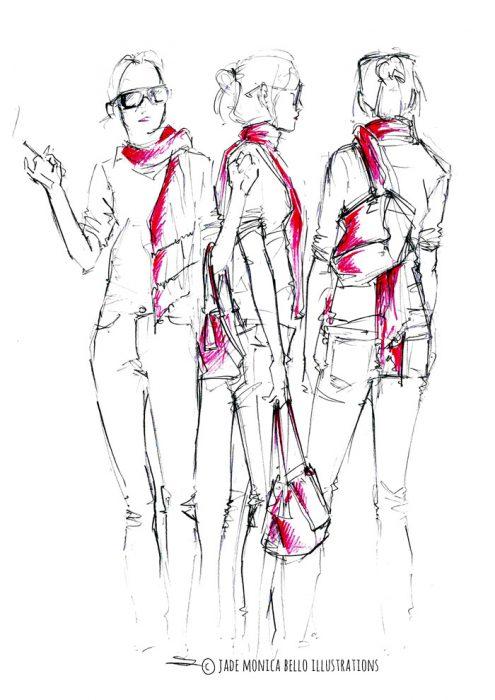 Red Scarf, fashion illustration, inspiration, women's wear, look, sketch