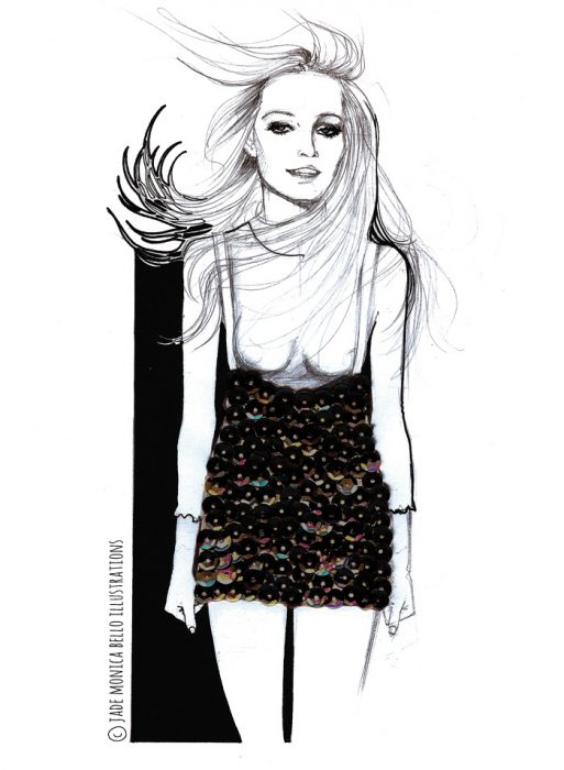 Model, music, look, fashion illustration, black and white, paillette, collage