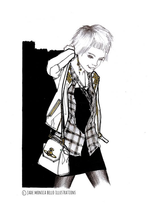 Pixie, music, look, fashion illustration, black and white, model