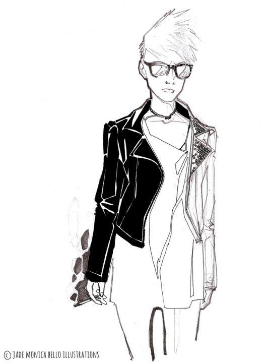 Manu Smoking, music, look, fashion illustration, black and white