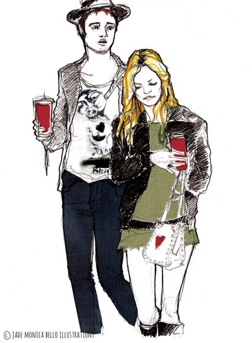 Kate and Pete, music, look, fashion illustration, model, moss, doherty