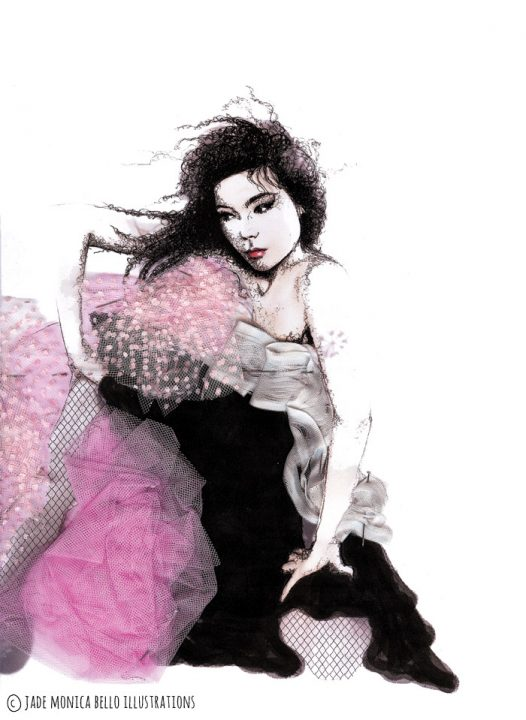 Björk, music, nineties, fashion illustration, collage