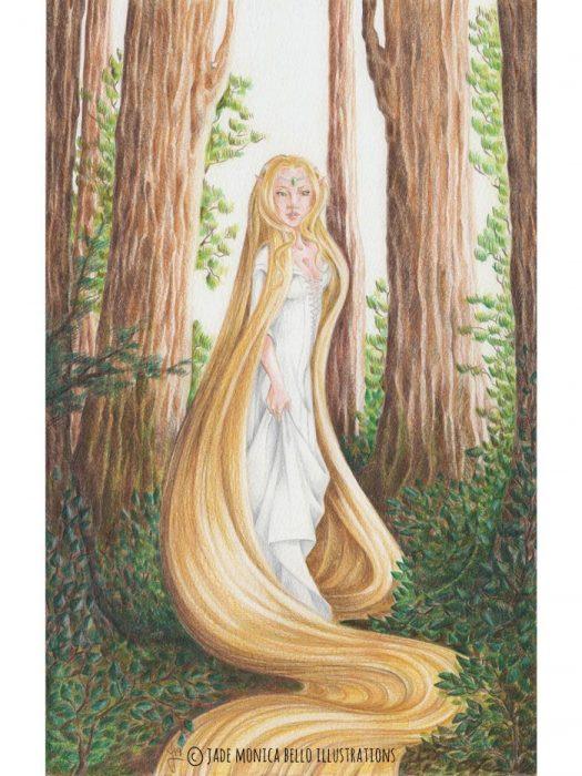 Eldaein, fantasy illustration, hair, wood, elf