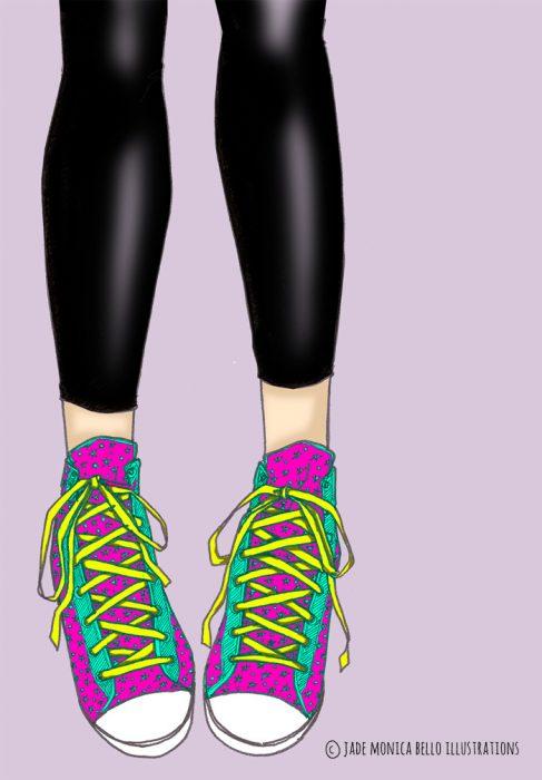 Sneakers, fashion illustration, digital, converse
