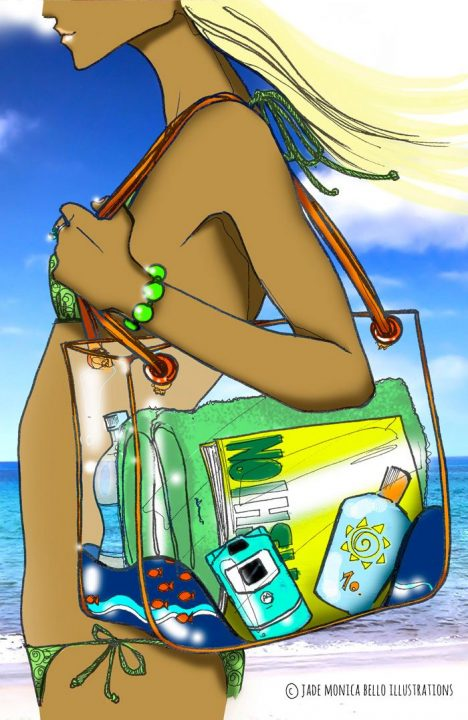 At the beach, fashion illustration, summer, beachwear, digital