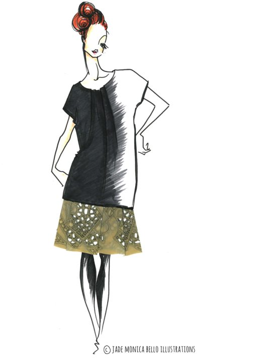 Marni Dress, fashion illustration, inspiration, women's wear, look, sketch