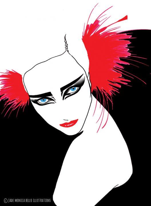 Siouxie, music, eighties, dark, fashion illustration
