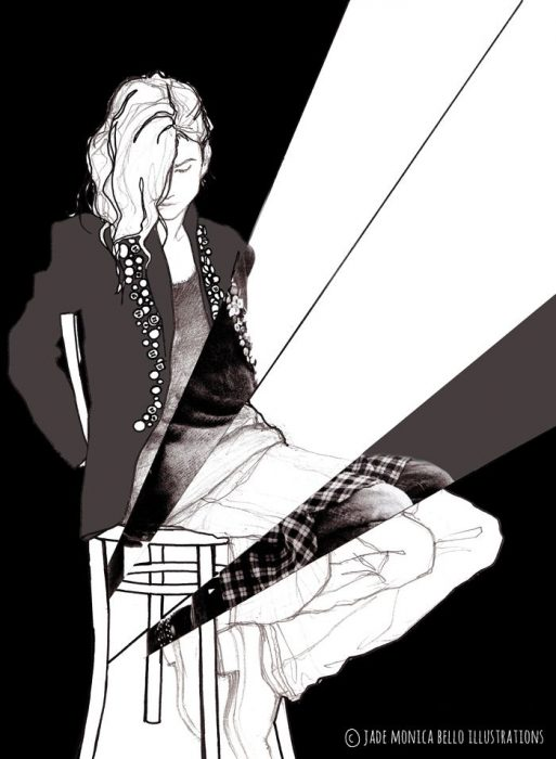 Jethro Cave, fashion illustration, look, blck and white, model