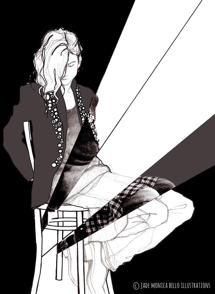 Jethro Cave, fashion illustration, look, blck and white, model