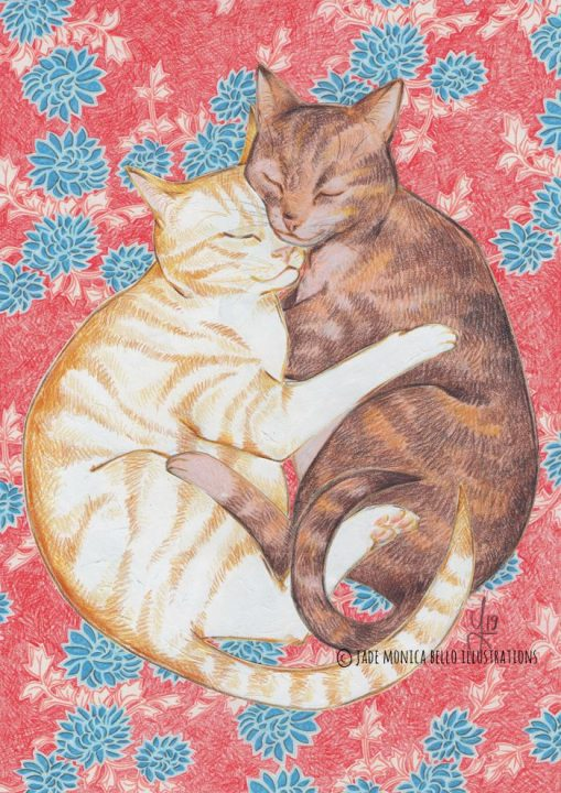 Embrace of Love, cat, animals, children illustration, vegan