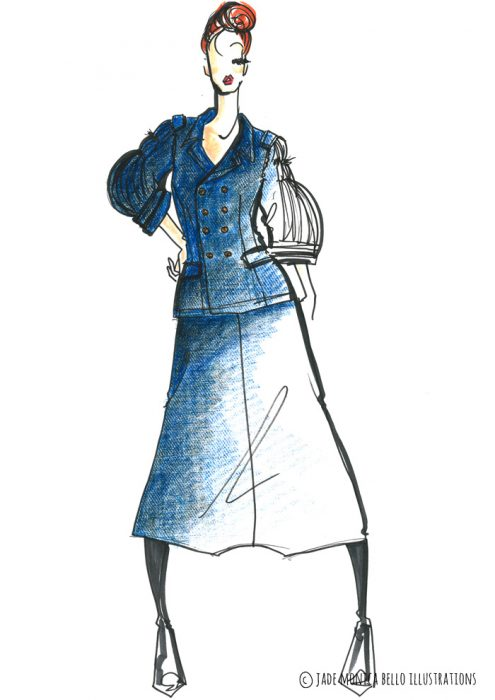 Comme des Garçons Outfit, fashion illustration, inspiration, women's wear, look, sketch