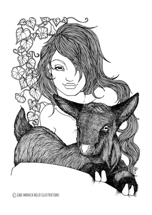 Goat Nymph, animals, illustration, vegan, vegan art, animal rights, black and white