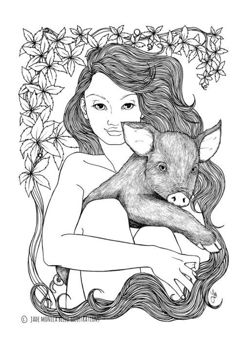 Pig Nymph, animals, illustration, vegan, vegan art, animal rights, black and white