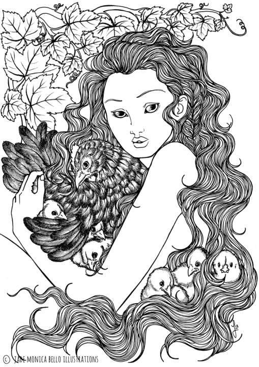 Chicks and Hen Nymph, animals, illustration, vegan, vegan art, animal rights, black and white