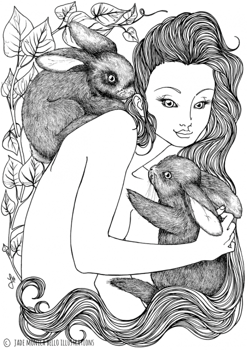 Rabbit Nymph, animals, illustration, vegan, vegan art, animal rights, black and white