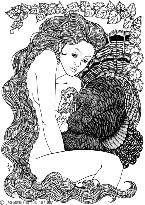 Turkey Nymph, animals, illustration, vegan, vegan art, animal rights, black and white