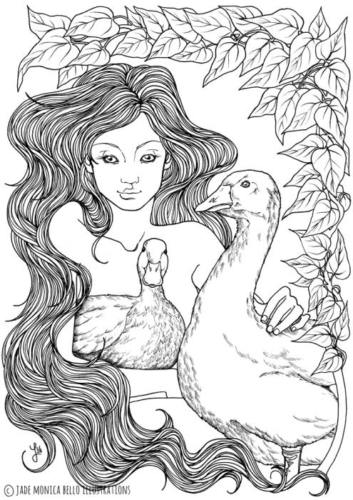 Duck and Goose Nymph, animals, illustration, vegan, vegan art, animal rights, black and white
