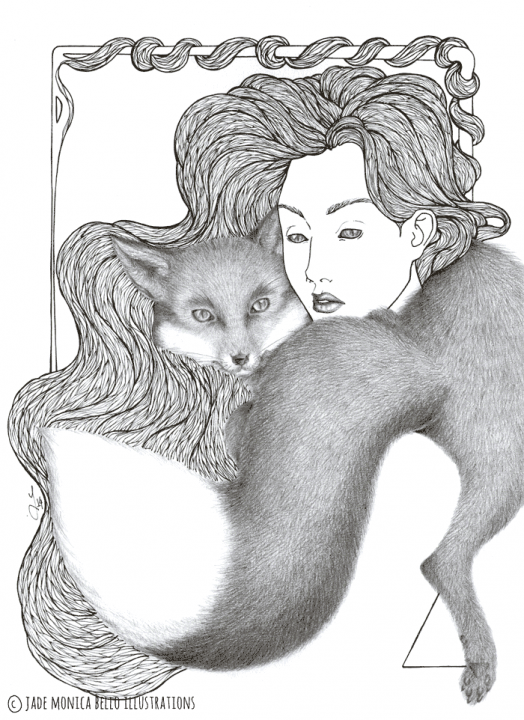 Nymph with the Fox, animals, illustration, vegan, vegan art, animal rights, fur, black and white