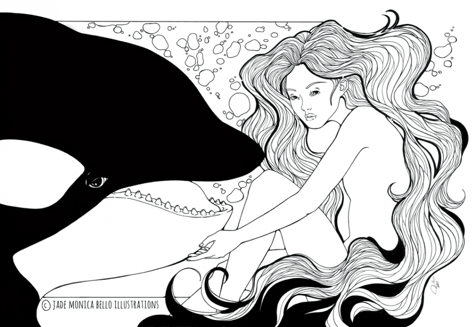 Orca Nymph - for Tilikum, animals, illustration, vegan, vegan art, animal rights, black and white