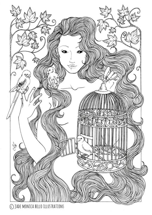 Liberation, animals, illustration, vegan, vegan art, animal rights, bird nymph, black and white
