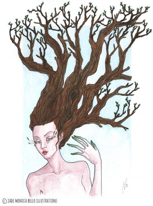 Tree Nymph, fantasy illustration, hair, tree, watercolor