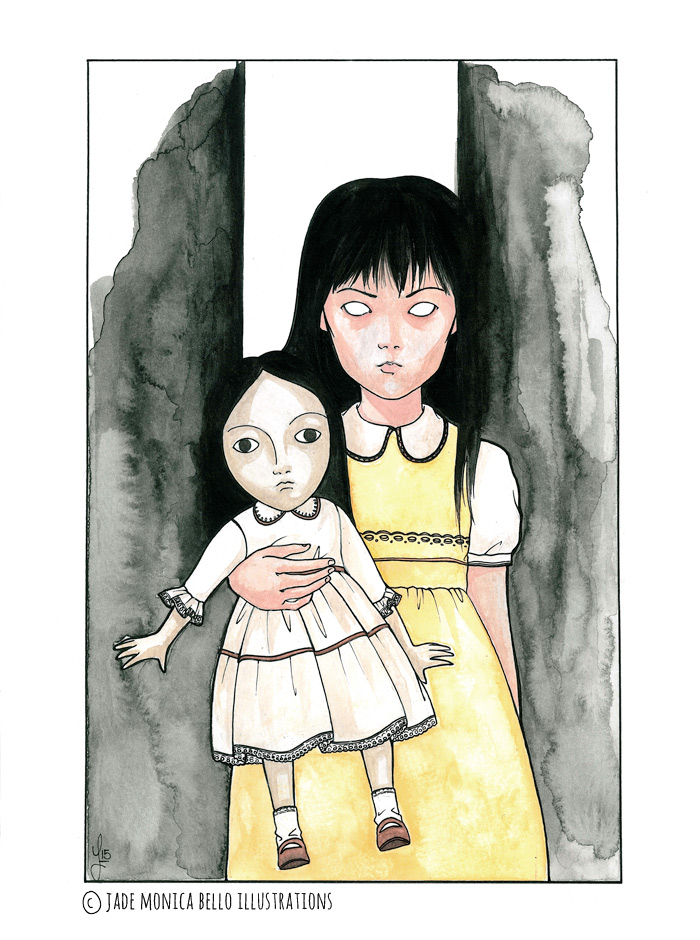 Chisato & doll, fanart, illustration, movie, japan, horror, Rinne