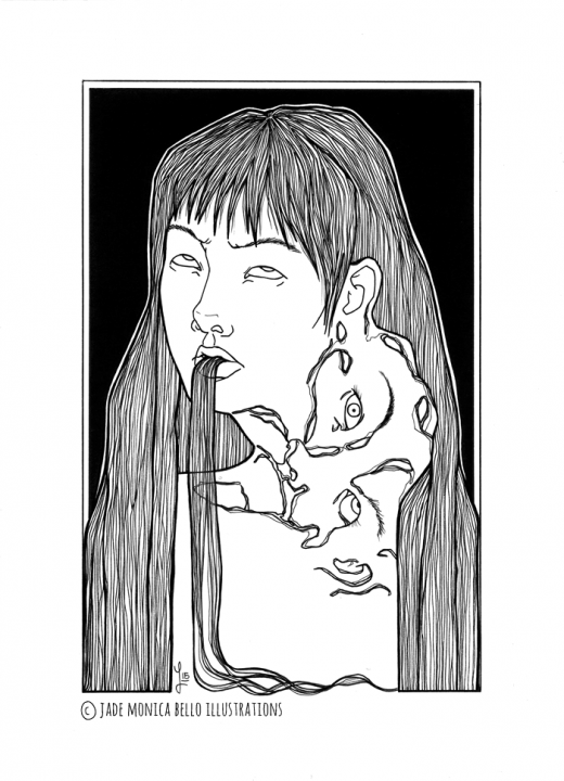 Tomie, fanart, illustration, movie, japan, horror