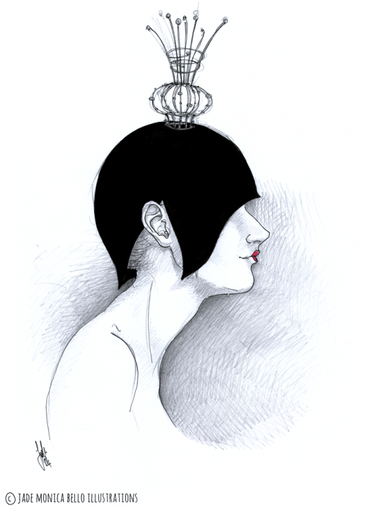 The Queen, fantasy illustration, ink, pencil, black and white