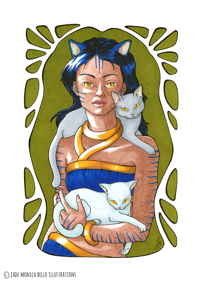 She's a Cat, fantasy illustration, woman, animal spirit