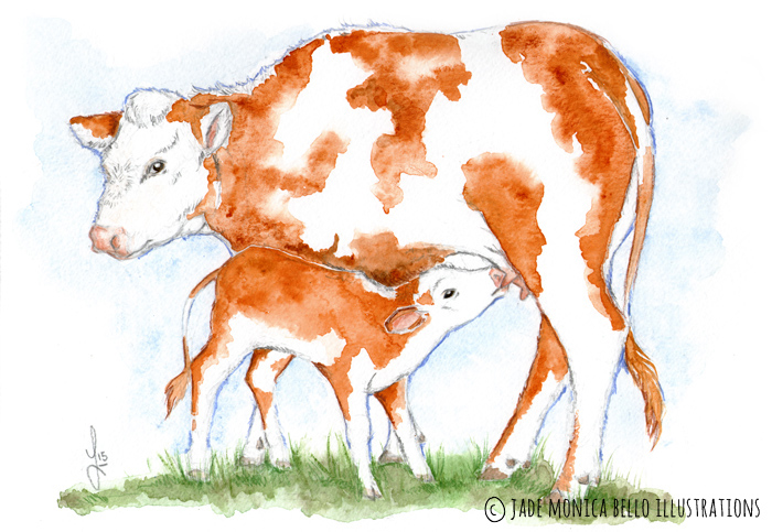 Mother and her Child, animals, illustration, vegan, vegan art, animal rights, cow, calf