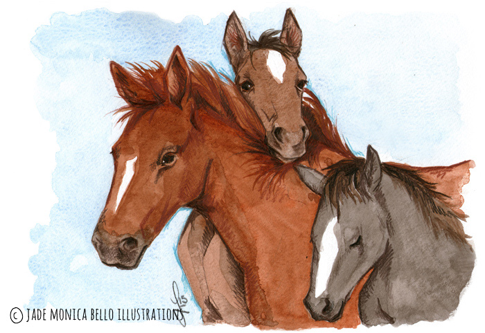Friendship, animals, illustration, vegan, vegan art, animal rights, horse