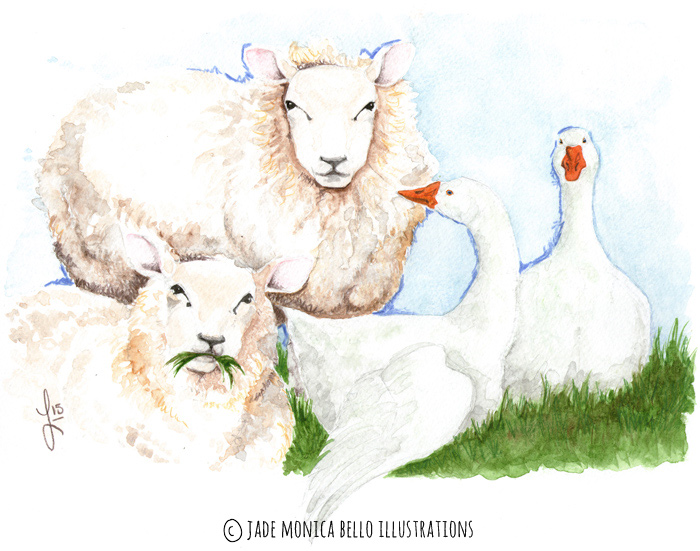 Imprinting, animals, illustration, vegan, vegan art, animal rights, sheep, goose