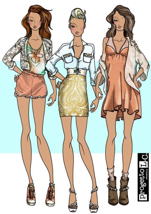 Look 1, denim, fashion illustration, inspiration, summer, women's wear