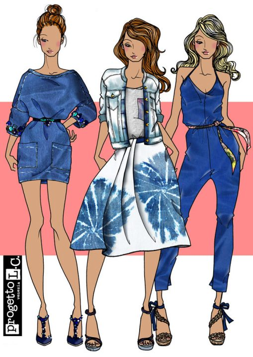 Look 2, denim, fashion illustration, inspiration, summer, women's wear