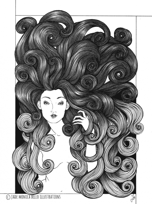 Spiral, fantasy illustration, hair, ink, pencil, black and white