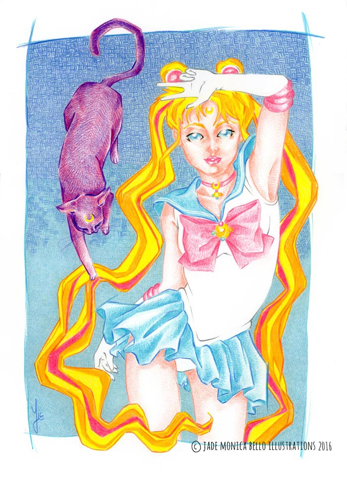 Pretty Guardian, sailor moon, luna, fanart, illustration, manga, japan, naoko takeuchi