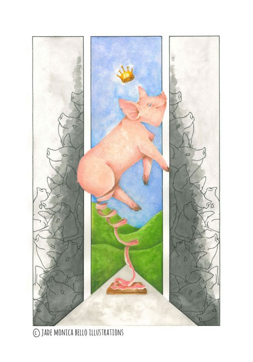 King of hams, animals, vegan, vegan art, animal rights, speciesism, pig, ham
