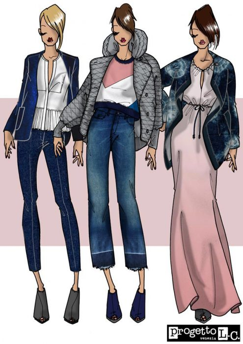 Look 5, denim, fashion illustration, inspiration, spring, women's wear