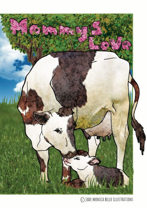 Mommy's Love, animals, children illustration, vegan, vegan art, animal rights, cow, calf