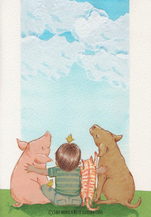 friends, animals, children illustration, vegan, vegan art, animal rights