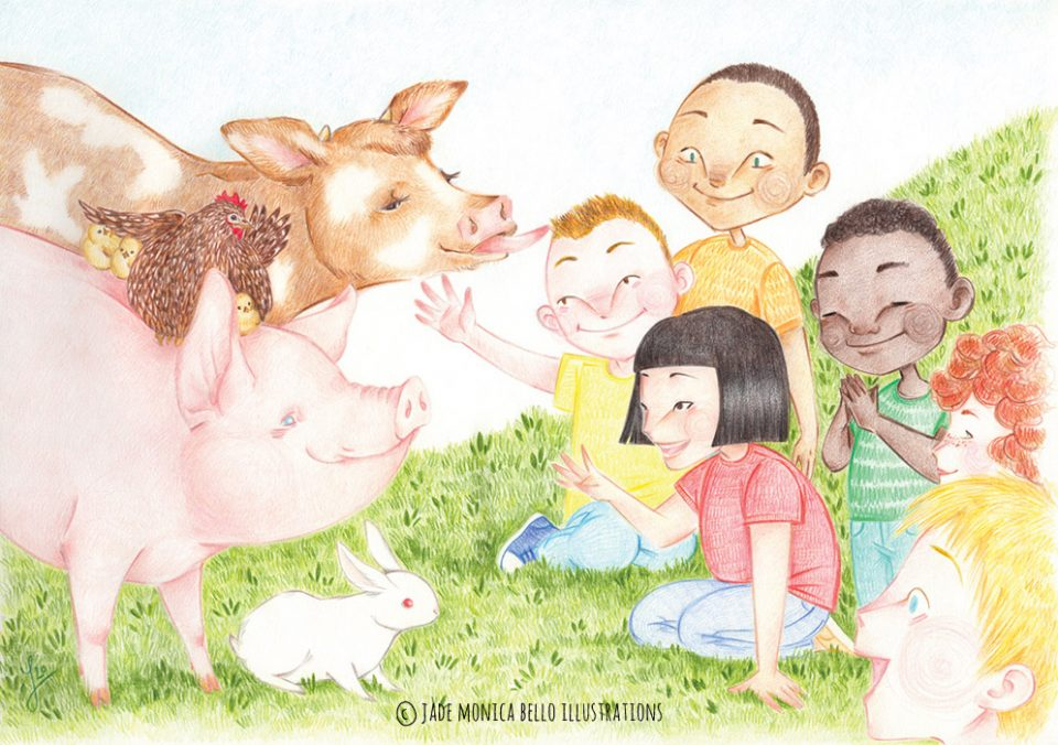 meeting, animals, children illustration, vegan, vegan art, animal rights