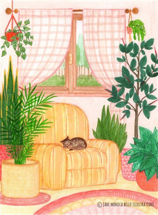 living room, cat, plants, watercolor, children illustration