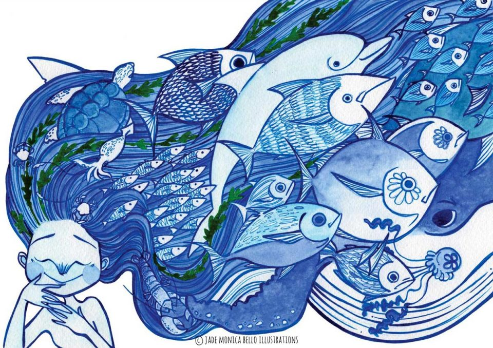 ocean, fish, animals, children illustration, vegan, vegan art, animal rights